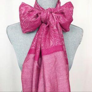 Pink Paisley Pattern Fringe Scarf